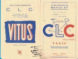 ETS MARIUS AT RUE BELLECOMBE LYON LES CYCLES CLC TUBES VITUS TARIF VELOS 1950 . MOUTON T.S.F. VOIRON - Publicités