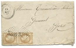 N°28 BISTRE NAPOLEON SUR LETTRE / SALVAGNAC TARN POUR GIMONT GERS / 12 MAI 1868 - Poststempel (Briefe)