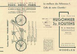 LES CYCLES HUGONNIER JO ROUTIERS GRENOBLE TANDEM SPECIAL PARIS-BREST T.S.F.VELO  MOUTON VOIRON - Publicités