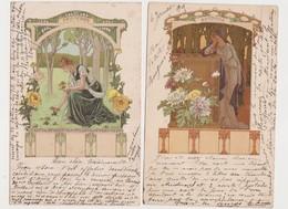 2 Cpa Signées Elisabeth Sonrel .Printemps - Automne / Style Art Nouveau - Illustrateurs & Photographes