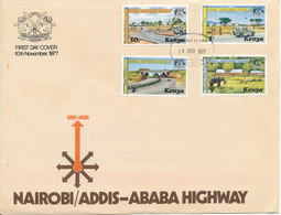 Kenya FDC 10-11-1977 Nairobi - Addis Ababa Highway Complete Set Of 4 With Cachet - Kenya (1963-...)