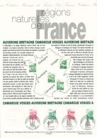 FRANCE - DOCUMENT OFFICIEL AUVERGNE BRETAGNE CAMARGUE VOSGES CAD CLERMONT FERRAND RENNES ARLES EPINAL DU 27/5/1995 - Postdokumente