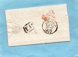 Monogramme Rouge De LOUIS XVIII,Bureau T I,avec Corresp. Du 23/2/17. - Storia Postale