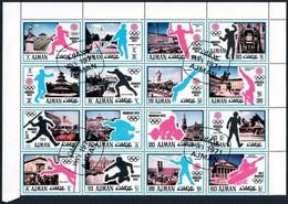 AJMAN - 16 FRANCOBOLLI SU PARTE DI FOGLIO OLIMPIADI DI MONACO 1972 - CATALOGO MICHEL NUMERO: 726 / 741 USATI ʘ 1971 - Ajman