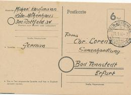 HÖHENHAUS über KÖLN-MÜLHEIM  -  1946 , BRITISCHE ZONE BEHELFSAUSGABE  -  Nach Bad Tennstedt - Zone Anglo-Américaine