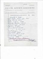TURNHOUT: CH,LEYSEN -GOOSENS-OUDE DOCUMENTEN-FACTUUR - Imprimerie & Papeterie