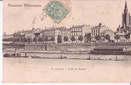31 TOULOUSE PITTORESQUE LA GARONNE TRAIN DE BATEAUX PETIT MÉTIER TRES AMINÉES EN BON ÉTAT - Toulouse