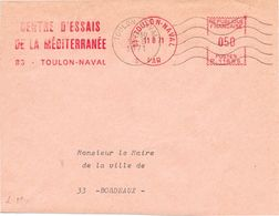 """Poste Navale  83 Toulon-Naval 11 8 71 EMA Rouge """"Centre D'Essais De La Méditerranée"""" + Sécap Lignes Ondulées O= - Postmark Collection (Covers)"""