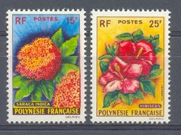 Mgd008 FLORA BLOEMEN HIBISCUS FLOWERS BLUMEN FLEURS FLORES POSTZEGELS STAMPS POLYNESIE FRANCAISE 1962 PF/MNH - Ohne Zuordnung