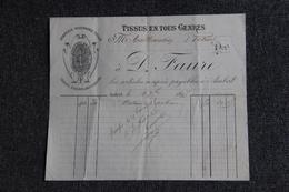 Facture Ancienne ( Moyen Format) - AMBERT, FAURE, Tissus En Tous Genres. - France