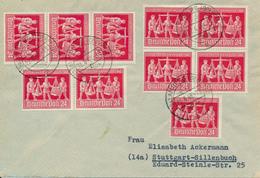 AMBERG  -  22.6.48 ,  Mehrfachfrankatur Messe Hannover   -  Brief  Nach Stuttgart  - Währungsreform - Zona Anglo-Americana