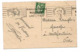 MONTFAUCON D'ARGONNE - 1 AOUT 37 - Inauguration Du Monument Américain - Marcophilie (Lettres)