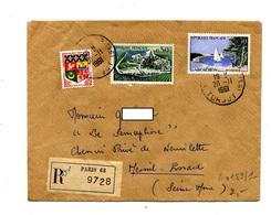 Lettre Recommandée Paris 68 Sur Cognac Arcachon - Poststempel (Briefe)