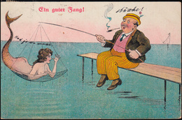 Karikatur-AK Ein Guter Fang! Meerjungfrau Im Netz Eines Fischers, ST. GOAR 1914 - Humor