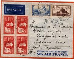 Paris 1937 - Lettre Avion Pour Argentine - Moulin De Daudet - Descartes - Mont-Saint-Michel - Marcophilie (Lettres)