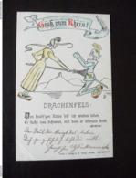 Gruss Vom Rhein Drachenfels 1899 Originell Gezeichnete Karte Königswinter - Koenigswinter