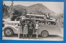 65 - PONT-D'ESPAGNE - CARTE PHOTO 1946 - AUTOCAR AVEC RÉSERVOIR À GAZOGÈNE  SUR LE TOIT - France