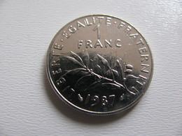 France : 1 Franc 1987    - Prix : 7,50 €  Très Bel état - France