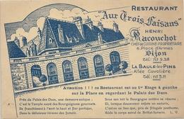 """RESTAURANT """" AUX TROIS FAISANS """" Henri RACOUCHOT  6 PLACE D'ARMES . DIJON. CARTE PUB NON ECRITE - Dijon"""