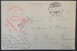 Env Officier Camp De Prisonnier De Guerre De GNADENFREI Cachet à Date Censure Déc 1915 Vers La-Forêt-Fouesnant Finistère - Guerre De 1914-18