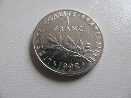 France : 1 Franc 1992    -  Prix : 1,50 €  Très Bel état - France