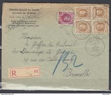 Aangetekende Brief Van Wiers Naar Bruxelles - 1922-1927 Houyoux