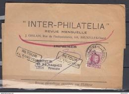 Inter-Philatelia Revue Mensuelle Van Bruxelles Naar Lyon (Frankrijk) Retour A L'Envoyeur - 1922-1927 Houyoux