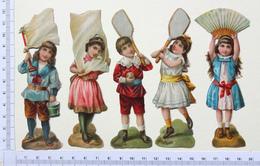 5 CHROMOS DECOUPIS GAUFRES......H  12 Cm.....ENFANTS PORTEURS DE DRAPEAU...RAQUETTE...ÉVENTAIL...... - Découpis