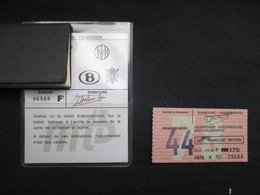 VP BELGIQUE (M1911) ABONNEMENT HEBDOMADAIRE (3 Vues) SNCV SNCB STIB NMVB NMBS MIVB 1978 Avec Ticket Semaine 44 - Abonos