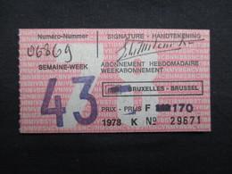 VP BELGIQUE (M1911) TICKET ABONNEMENT HEBDOMADAIRE (2 Vues) SNCV SNCB STIB NMVB NMBS MIVB 1978 Ticket Semaine 43 - Wochen- U. Monatsausweise