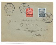 57 -GUEBLING Enveloppe Oblitération Deutches Reich A Destination De Sarreguemines - Alsace-Lorraine