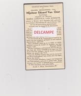 """DOODSPRENTJE VAN OOST EDUARD ECHTGENOOT VAN SCHOOTE BEVEREN NIEUWKERKEN-WAAS 1859 - 1939 MET FOTO   """"ANTI-KOPIE"""" - Images Religieuses"""