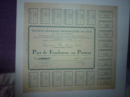 PART DE FONDATEUR AU PORTEUR SOCIETE GENERALE IMMOBILIERE DE NICE ET DU LITTORAL 1919 - Aandelen
