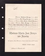 LISBONNE LISBOA Maria José ARROYO Née AMORIM 29 Ans 1891 épouse D'Antoine ARROYO Format A5 - Esquela
