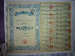 PART DE FONDATEUR AU PORTEUR CHOCOLATERIES REUNIES 1921 - Aandelen