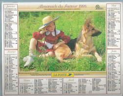ALMANACH DES POSTES  1998 ( CALENDRIER  ) - FILLETTE ET BERGER ALLEMAND / ENFANTS ET PONEY - Calendriers