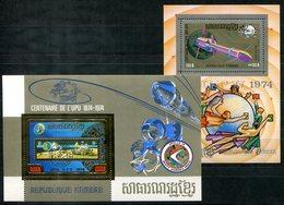 5546 - KAMBODSCHA - Block 60A Mit Gold-Marke 100 Jahre UPU + Gratis Block 52 - Alles ** (Weltraum - Space) - Cambodia