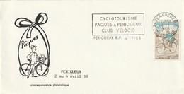 """Env. De """"Périgueux RP - 24, Dordogne"""" Du 04-01-1988, """"Cyclotourisme Paques à Périgueux"""" Sur YT 1710 - Mechanical Postmarks (Advertisement)"""