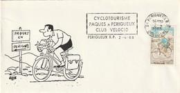 """Env. De """"Périgueux RP - 24, Dordogne"""" Du 02-04-1988, """"Cyclotourisme Paques à Périgueux"""" Sur YT 1710 - Mechanical Postmarks (Advertisement)"""
