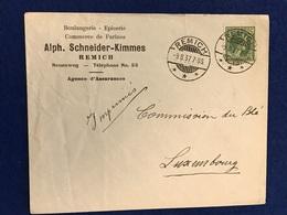 Luxembourg - Enveloppe - Boulangerie-Epicerie Alph. Schneider-Kimmes - Remich - 09.08.37 - Commission Du Blé - Luxemburg