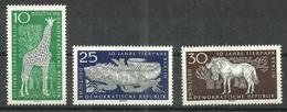 """DDR 1093-1095 """"3 Briefmarken Zu 10 Jahre Tierpark Berlin, 1965 """" Postfrisch Mi.-Preis 3,30 - [6] République Démocratique"""