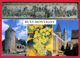 CPM-71-BUXY-MONTAGNY - Fresque Du Caveau Peinte Par BUFFENOIR- Tour Rouge - Eglise Et Tour De L'Horloge *SUP * 2 SCAN- - Andere Gemeenten
