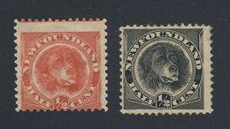 2x Newfoundland Dog MH Stamps #57-1/2c Orange Fine #58-1/2 Black VF GV= $80.00 - Neufundland