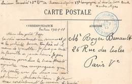 PIE-Z SDV-19-4883 : CACHET FRANCHISE POSTALE. DEPOT COMMUN 12° ET 82° BATAILLON   CHASSEURS ALPINS  28 JUILLET 1915 - Marcophilie (Lettres)