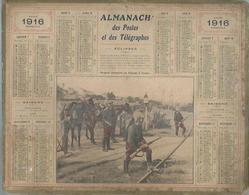 ALMANACH DES POSTES  1916 ( CALENDRIER ) DRAGONS DEFENDANT UN PASSAGE A NIVEAU - Kalenders