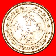 + GREAT BRITAIN (1958-1980): HONG KONG ★ 5 CENTS 1972H MINT LUSTER! LOW START ★ NO RESERVE! - Hongkong