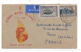 CEYLAN SRI LANKA Enveloppe Par Avion A Dèstination De Vannes - Sri Lanka (Ceylon) (1948-...)