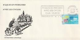 """Env. De """"Périgueux RP - 24, Dordogne"""" Du 14-04-1990, """"Paques En Périgord Abec Les Cyclos, Club Velocio"""" Sur YT 2590 - Mechanical Postmarks (Advertisement)"""