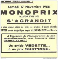 Buvard Monoprix Alfortville S'agrandit, Samedi 17 Novembre 1956, Bordures Coupées Au Scan Mais Buvard Complet - Buvards, Protège-cahiers Illustrés
