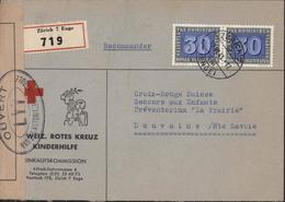 Guerre 39 Sur Enveloppe Recommandée Suisse Weiz Rotes Kreuz Kinderhilfe Censure Ouvert Par Autorités Contrôle LYY Lyon - Marcophilie (Lettres)
